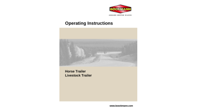 Operating Instructions for Lifestock Trailer