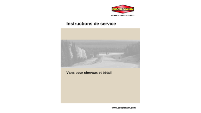 Instructions de service Vans pour bétail